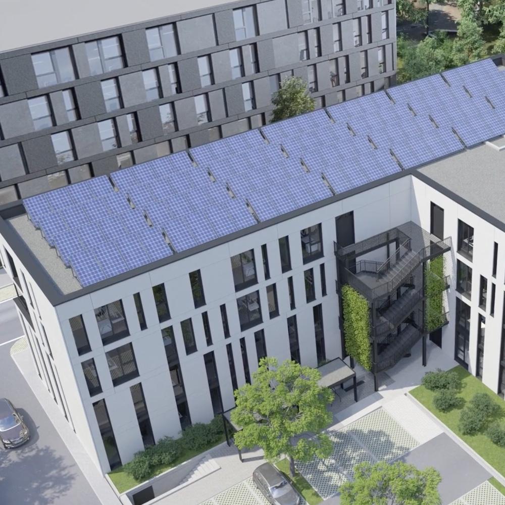 Ansicht vom Firmensitz 1stQ von Oben. Autarkes Gebäude Elysium Mannheim