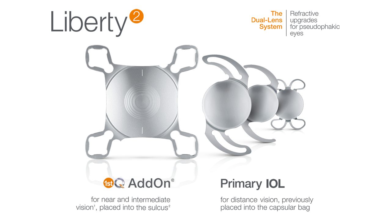 dual-lens system Liberty² family: AddOn IOL and basis IOL types