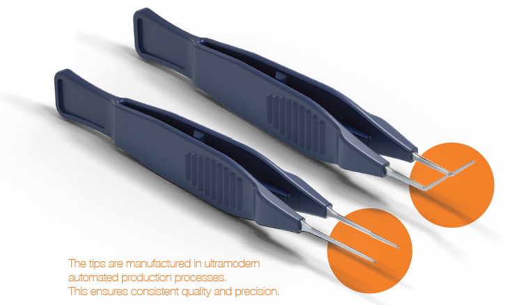 picture of two single-use foreceps to show the automated production