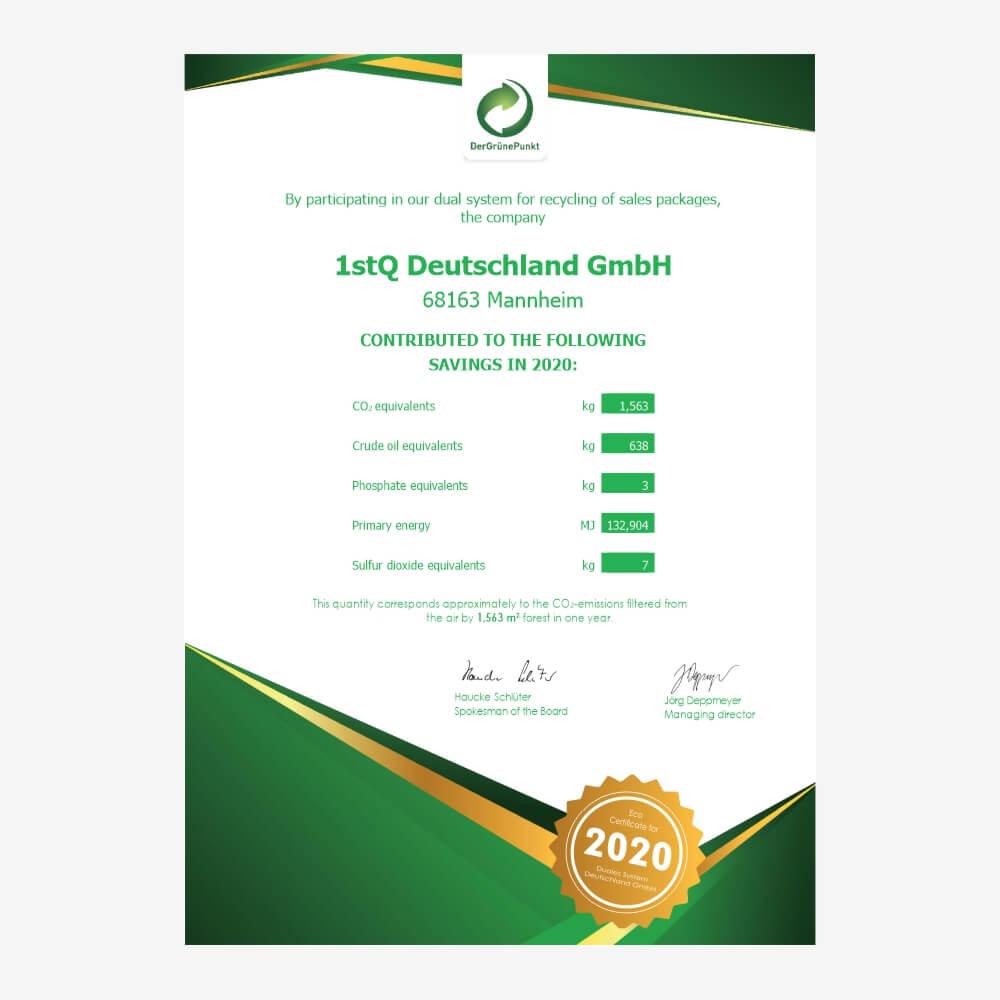 """""""Grüner Punkt"""" 2020 environmental certificate"""