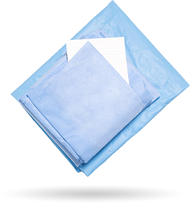 Sample surgical set with blue drapes