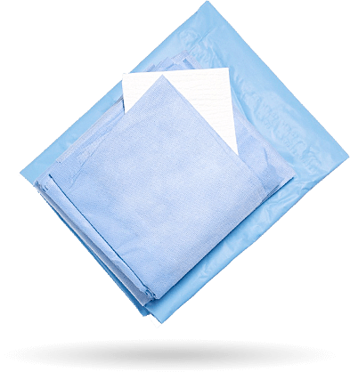 Muster OP-Set mit blauen Abdecktüchern