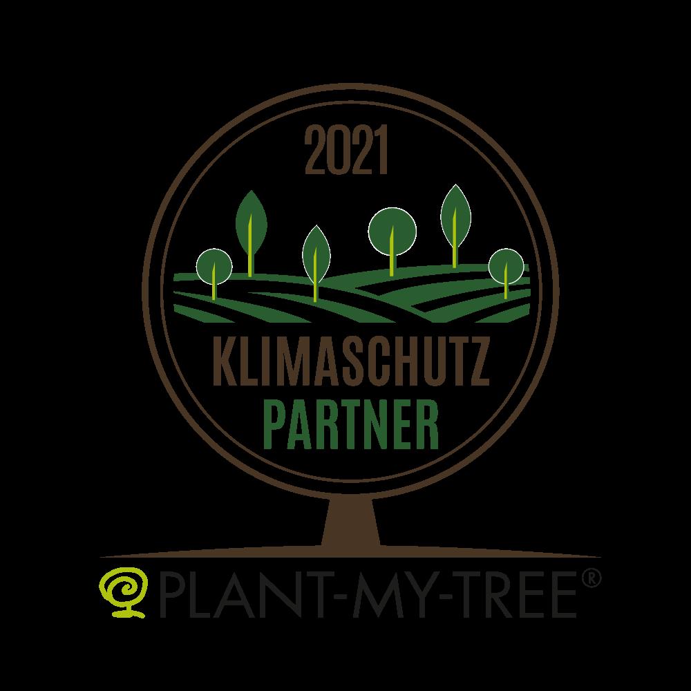 Logo Klimaschutzpartner 2021 von unserem Partner PLANT-MY-TREE